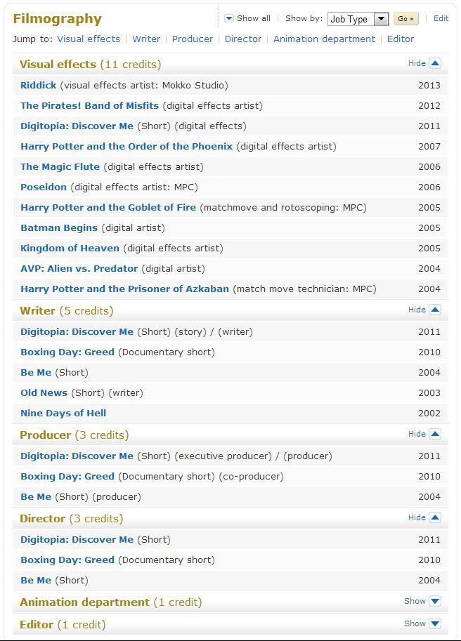 IMDB Filmography - more to come